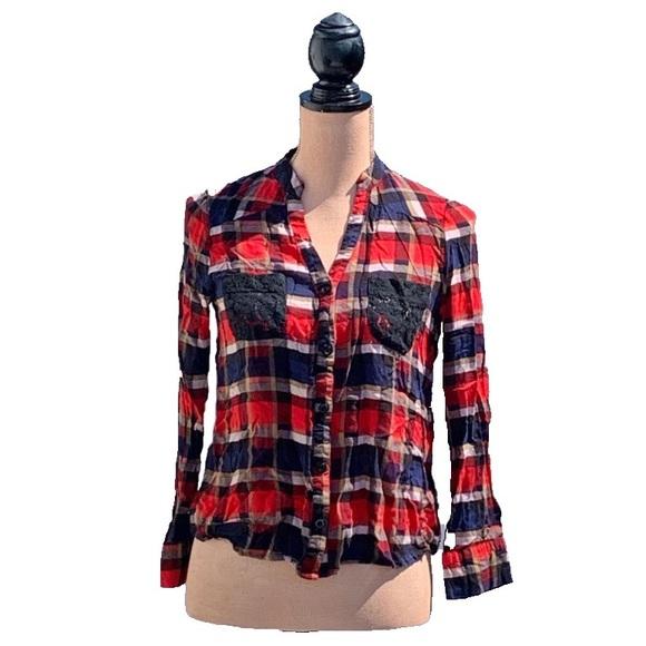 ☀️4/25 Papaya Cropped Plaid Shirt